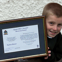 10 year old Roghainn Patterson after being presented with a Tayside Police Meritorious Conduct Certificate by Chief Constable William Spence. Roghainn received the award for helping his mothers partner who he found collapsed on the floor at home.<br />