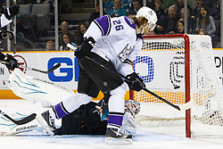 April 4, 2011; San Jose, CA, USA;  Los Angeles Kings center Michal Handzus (26) scores a goal past San Jose Sharks goalie Antti Niemi (31) during the second period at HP Pavilion. San Jose defeated Los Angeles 6-1. Mandatory Credit: Jason O. Watson / US PRESSWIRE