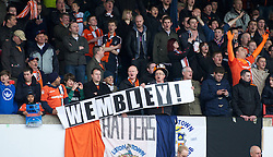 WREXHAM, WALES - Monday, May 7, 2012: Luton Town supporters celebrate their 3-2 aggregate victory over Wrexham during the Football Conference Premier Division Promotion Play-Off 2nd Leg at the Racecourse Ground. (Pic by David Rawcliffe/Propaganda)