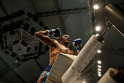 March 22, 2019 - Miami, Florida, USA - Venezuelan super lightweight ISMAEL BARROSO celebrates his victory over Argentina's ENRIQUE MARTIN ESCOBAR at M&R Boxing Promotion's Fight Night at the Miccosukee Resort and Gaming Dome. (Credit Image: © Adam DelGiudice/ZUMA Wire)