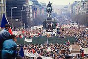 November 23, 1989. Prague, Czechoslovakia. Around 300.000 people gather at a pro-democracy demo in Vaclav Square. (Photo Heimo Aga)