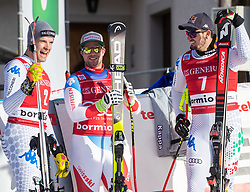 28.12.2018, Stelvio, Bormio, ITA, FIS Weltcup Ski Alpin, Abfahrt, Herren, Siegerehrung, im Bild v.l. Christof Innerhofer (ITA, 2. Platz), Beat Feuz (SUI, 3. Platz), Dominik Paris (ITA, 1. Platz) // f.l. second placed Christof Innerhofer of Italy third placed Beat Feuz of Switzerland race winner Dominik Paris of Italy during the winner Ceremony for the men's Downhill of FIS Ski Alpine World Cup at the Stelvio in Bormio, Italy on 2018/12/28. EXPA Pictures © 2018, PhotoCredit: EXPA/ Johann Groder