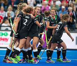 Germany celebrate scoring. Germany v Spain - 3rd/4th Playoff Unibet EuroHockey Championships, Lee Valley Hockey & Tennis Centre, London, UK on 30 August 2015. Photo: Simon Parker