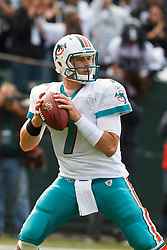 November 28, 2010; Oakland, CA, USA;  Miami Dolphins quarterback Chad Henne (7) during the first quarter against the Oakland Raiders at Oakland-Alameda County Coliseum. Miami defeated Oakland 33-17.