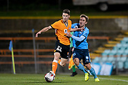 SYDNEY, AUSTRALIA - AUGUST 07: Brisbane Roar player Jake Mcging (22) and Sydney FC player Joel King (16) fight for the ball during the FFA Cup round of 32 football match between Sydney FC and Brisbane Roar FC on August 07, 2019 at Leichhardt Oval in Sydney, Australia. (Photo by Speed Media/Icon Sportswire)