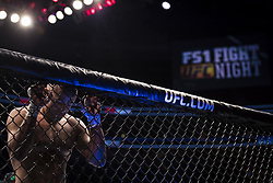 September 16, 2017 - Pittsburgh, Pennsylvania, USA - September 16, 2017: Sergio Moraes is knocked out by Kamaru Usman in the first round during UFC Fight Night at PPG Paints Arena in Pittsburgh, Pennsylvania. (Credit Image: © Scott Taetsch via ZUMA Wire)