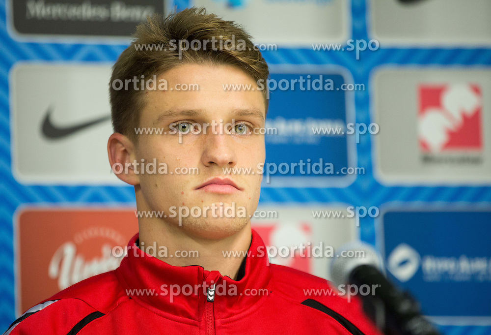 Vykintas Slivka during press conference before practice session of Lithuanian National Football team one day before Euro 2016 Qualifying game between Slovenia and Lithuania, on October 8, 2015 in SRC Stozice, Ljubljana Slovenia. Photo by Vid Ponikvar / Sportida