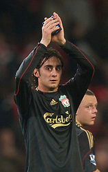 LONDON, ENGLAND - Wednesday, October 28, 2009: Liverpool's Alberto Aquilani applauds the fans after his side's 2-1 defeat by Arsenal during the League Cup 4th Round match at Emirates Stadium. (Photo by David Rawcliffe/Propaganda)