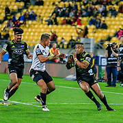 Julian Savea during the Super Rugby union game between Hurricanes and Sunwolves, played at Westpac Stadium, Wellington, New Zealand on 27 April 2018.   Hurricanes won 43-15.