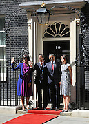© licensed to London News Pictures. LONDON, UK  24/05/11. Barack Obama, and Michelle Obama are met by David Cameron and Samantha Cameron in Downing Street during US President Obama's first State Visit to the United Kingdom. Please see special instructions. Photo credit should read Stephen Simpson/LNP
