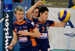 Venno Oliver and Matevz Kamnik  of ACH celebrate at 2nd Semifinal match of CEV Indesit Champions League FINAL FOUR tournament between ACH Volley, Bled, SLO and Trentino BetClic Volley, ITA, on May 1, 2010, at Arena Atlas, Lodz, Poland. Trentino defeated ACH 3-1. (Photo by Vid Ponikvar / Sportida)