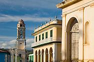 A view of central Trinidad: Iglesia y Covento de San Francisco and the Palacio Brunet, now Museo Romanitico<br /> Trinidad is a UNESCO World Heritage Site<br /> Cuba