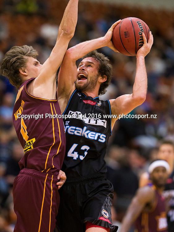 Breaker's Isaih Tueta under the basket. NBL Preseason basketball, NZ Breakers v Brisbane Bullets, PG Arena, Napier, New Zealand. Thursday 16 September, 2016. Copyright photo: John Cowpland / www.photosport.nz