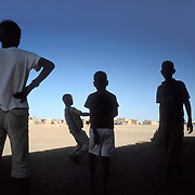 Children play football at the refugee camps of tindouf, Algeria