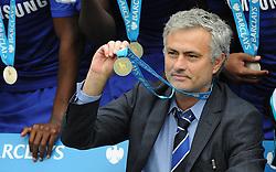 Chelsea Manager, Jose Mourinho shows off his medal.- Photo mandatory by-line: Alex James/JMP - Mobile: 07966 386802 - 24/05/2015 - SPORT - Football - London - Stamford Bridge - Chelsea v Sunderland - Barclays Premier League