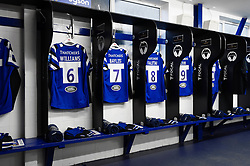 A general view of Bath Rugby jerseys hung in the home changing rooms - Mandatory byline: Patrick Khachfe/JMP - 07966 386802 - 25/01/2020 - RUGBY UNION - The Recreation Ground - Bath, England - Bath Rugby v Leicester Tigers - Gallagher Premiership