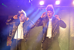Jedward aka Kevin Joyce and David Hoban performing as part of the Stars in their Eyes Westport Community Development show at the Castlecourt Hotel on friday last.<br /> Pic Conor McKeown