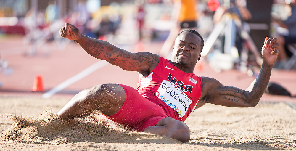 Marquise Goodwin of the United States competes in the men's long jump at the CIBC Athletics Stadium at the 2015 Pan American Games in Toronto, Canada, July 22,  2015.  AFP PHOTO/GEOFF ROBINS