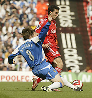Photo: Aidan Ellis.<br /> Liverpool v Wigan Athletic. The Barclays Premiership. 21/04/2007.<br /> Wigan's Kevin Kilbane challenges Liverpool's Alavaro Arbeloa