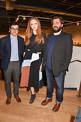 Left to right, Simon Bird, Lily Cole and Matt Berry at The Philanthropist After Party held at The Mall Galleries, 17 Carlton House Terrace, London England. 20 April 2017.