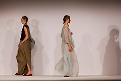 © Licensed to London News Pictures. 31/05/2014. London, England. Collection by Saleha Hashmi from the University of Salford. Graduate Fashion Week 2014, Runway Show at the Old Truman Brewery in London, United Kingdom. Photo credit: Bettina Strenske/LNP