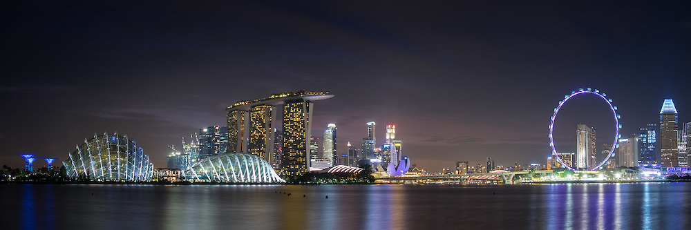 The skyline in Singapore by night