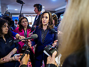 11 APRIL 2019 - DES MOINES, IOWA: US Senator KAMALA HARRIS, (D-CA) talks to reporters after a presidential campaign event in Des Moines.  Sen Harris is one of the leading candidates to be Democratic nominee for the US Presidency. Iowa traditionally hosts the the first election event of the presidential election cycle. The Iowa Caucuses will be on Feb. 3, 2020.    PHOTO BY JACK KURTZ