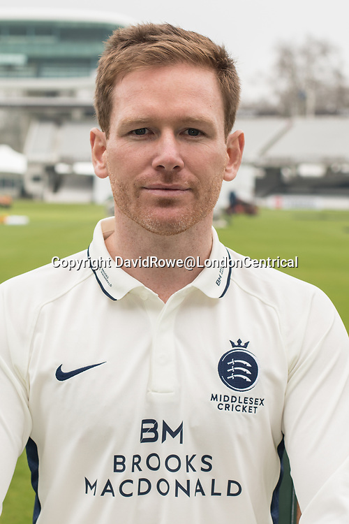 11 April 2018, London, UK.  Eoin Morgan of Middlesex County Cricket Club in the County Championship white kit .