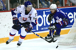 Lubomir Visnovsky of Slovakia and Ales Music of Slovenia at ice-hockey game Slovenia vs Slovakia at Relegation  Round (group G) of IIHF WC 2008 in Halifax, on May 09, 2008 in Metro Center, Halifax, Nova Scotia, Canada. Slovakia won 5:1. (Photo by Vid Ponikvar / Sportal Images)