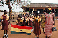 Ghana, Accra, Kokomlemle, 2007. Accra New Town Primary School students join with the older kids in a practice march for Ghana's Independence Day..