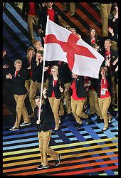 Image licensed to i-Images Picture Agency. 23/07/2014. Glasgow, United Kingdom. The England team arrives at the  opening  ceremony of the Commonwealth Games in Glasgow. Picture by Stephen Lock / i-Images