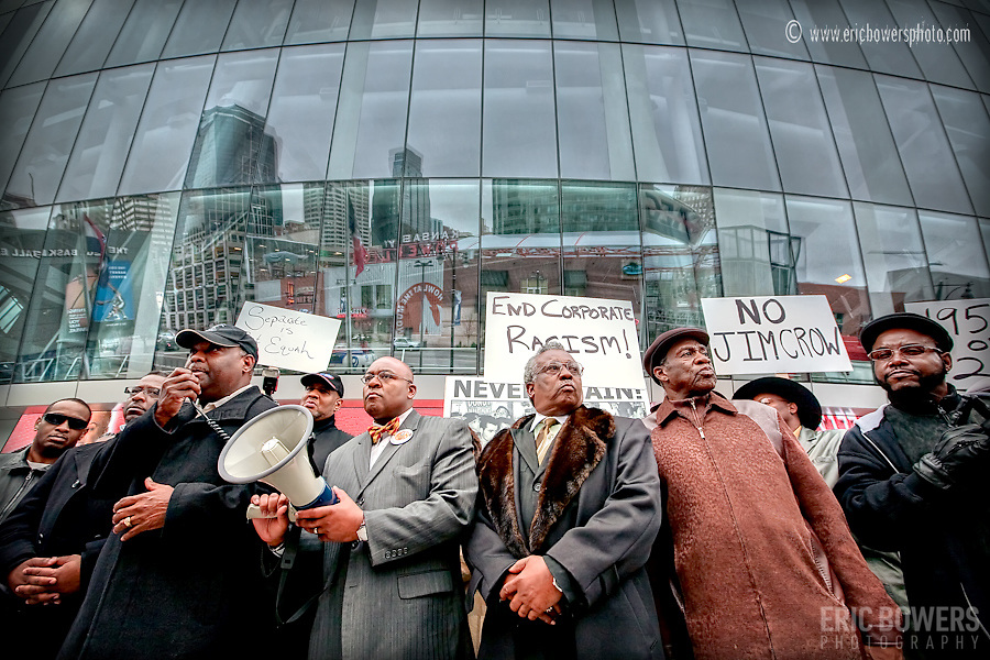 Urban core ministers in Kansas City hold a protest of the Power and Light District's controversial and arguably racist dress code inside the KC Live block.