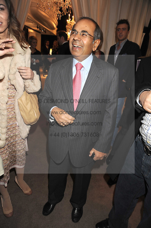 GOPICHAND HINDUJA at a party to celebrate the launch of the Raffles Asprey Cocktail, held at Asprey, New Bond Street, London on 13th November 2008.