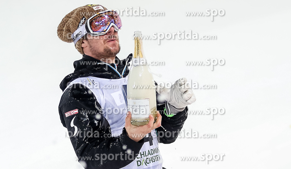 26.01.2016, Planai, Schladming, AUT, FIS Weltcup Ski Alpin, Schladming, Slalom, Herren, Siegerehrung, im Bild Marcel Hirscher (AUT, 2. Platz) // 2nd placed Marcel Hirscher of Austria celebrate on Podium during the winner award ceremony of men's Slalom Race of Schladming FIS Ski Alpine World Cup at the Planai in Schladming, Austria on 2016/01/26. EXPA Pictures © 2016, PhotoCredit: EXPA/ Johann Groder