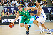 Jesse Wagstaff #18 of Australia drives to the basket during the Australia v Philippines, 1st Round, Group B, Asian Qualifier at the Margaret Court Arena, Melbourne, Australia on 22 February 2018. Picture by Martin Keep.