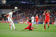 Wales defender Neil Taylor and Wales defender Ethan Ampadu defending during the UEFA European 2020 Qualifier match between Wales and Azerbaijan at the Cardiff City Stadium, Cardiff, Wales on 6 September 2019.