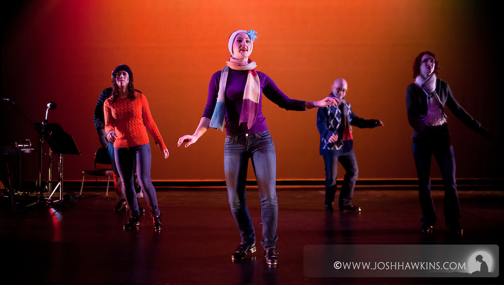 "Chicago Tap Theatre's ""Tidings of Tap"" performed at UIC Theatre in Chicago, IL on Dec 9-11, 2011..""Carol of the Bells"", choreography by Mark Yonally, pictured dancer(s): Samantha O'Connell, Kirsten Williams, Mark Yonally, Sam Nolte"