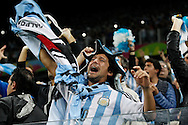 Argentina fans celebrate during the 2014 FIFA World Cup match at Arena Corinthians, Sao Paulo<br /> Picture by Andrew Tobin/Focus Images Ltd +44 7710 761829<br /> 09/07/2014