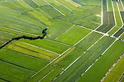 Nederland, Zuid-Holland, Gemeente Bodegraven, 15-07-2012; Noorzijderpolder,  veenweidegbied tussen Bodegraven en Meije. Het landschap is ontstaan door het ontginnen van het veen (cope-ontginning). De Noordzijdskade (met bomen) is een zogenaamde achterkade, scheidingtussen wel en niet ontgonnen veen.  .This polder and bog meadows area was created by the extraction of peat (land reclamation). .luchtfoto (toeslag), aerial photo (additional fee required).foto/photo Siebe Swart