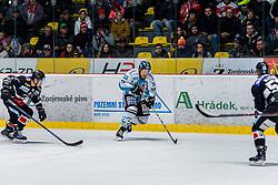 18.11.2018, Ice Rink, Znojmo, CZE, EBEL, HC Orli Znojmo vs EHC Liwest Black Wings Linz, 20. Runde, im Bild v.l. Patrik Novak (HC Orli Znojmo) Bracken Kearns (EHC Liwest Black Wings Linz) Radim Matus (HC Orli Znojmo) // during the Erste Bank Eishockey League 20th round match between HC Orli Znojmo and EHC Liwest Black Wings Linz at the Ice Rink in Znojmo, Czechia on 2018/11/18. EXPA Pictures © 2018, PhotoCredit: EXPA/ Rostislav Pfeffer