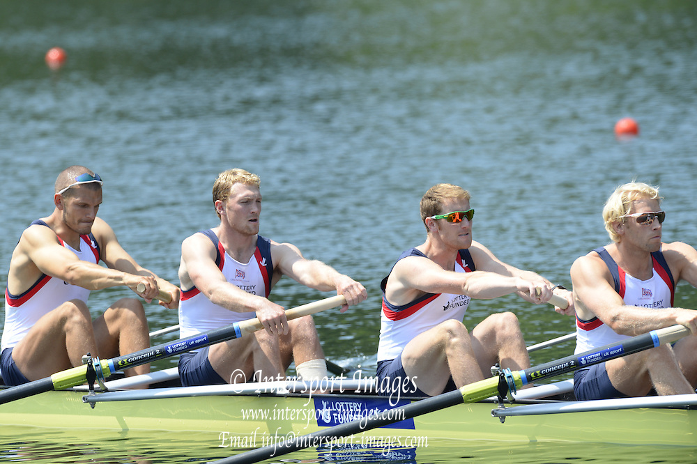 Lucerne. Switzerland. GBR1 M8+. Bow. Tom RANSLEY, Dan RICHIE, Peter REED, Will SATCH, Mo SBIHI, Alex GREGORY George NASH, Andy TRIGGS HODGE and cox,  Phelan HILL, move away from the start pontoon in their heat of the  men's eights FISA WC III. 13:48:22  Friday  12/07/2013  [Mandatory Credit, Peter Spurrier/ Intersport Images] Lake Rotsee,