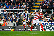Newcastle United Forward Aleksandar Mitrovictaken down  during the Barclays Premier League match between Newcastle United and Stoke City at St. James's Park, Newcastle, England on 31 October 2015. Photo by Craig McAllister.