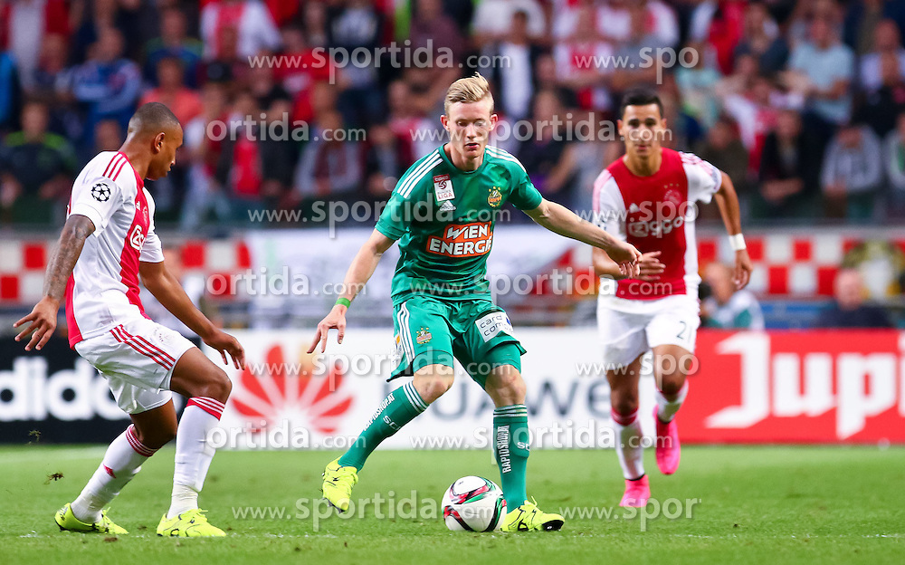 04.08.2015, Amsterdam Arena, Amsterdam, NLD, UEFA CL, Ajax Amsterdam vs SK Rapid Wien, Qualifikation, 3. Runde, Rückspiel, im Bild Kenny Tete (Ajax Amsterdam), Florian Kainz (SK Rapid Wien), Anwar El Ghazi (Ajax Amsterdam)// during the UEFA Champions League Qualifier 3rd round, 2nd Leg Match between Ajax Amsterdam and SK Rapid Wien at the Amsterdam Arena in Amsterdam, Netherlands on 2015/08/04. EXPA Pictures © 2015, PhotoCredit: EXPA/ Sebastian Pucher