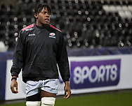 Saracens' Maro Itoje during the pre match warm up<br /> <br /> Photographer Simon King/Replay Images<br /> <br /> European Rugby Champions Cup Round 5 - Ospreys v Saracens - Saturday 13th January 2018 - Liberty Stadium - Swansea<br /> <br /> World Copyright © Replay Images . All rights reserved. info@replayimages.co.uk - http://replayimages.co.uk