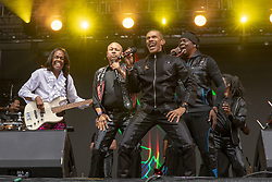 May 25, 2018 - Napa, California, U.S - VERDINE WHITE, RALPH JOHNSON, B. DAVID WHITWORTH and PHILIP BAILEY of Earth, Wind and Fire during BottleRock Music Festival at Napa Valley Expo in Napa, California (Credit Image: © Daniel DeSlover via ZUMA Wire)