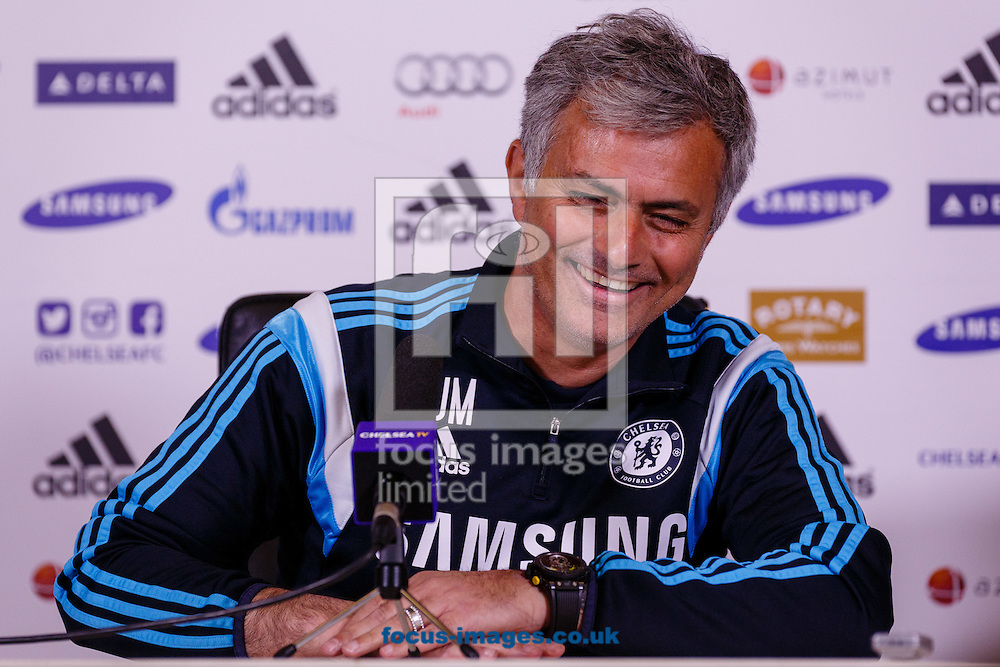 Jose Mourinho during the Chelsea Press Conference at their Training Ground prior to their Premiership match against Liverpool this weekend.  Cobham<br /> Picture by Mark Chappell/Focus Images Ltd +44 77927 63340<br /> 08/05/2015