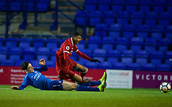 BIRKENHEAD, ENGLAND - Tuesday, December 19, 2017: Liverpool's Rhian Brewster is fouled for a penalty during the Under-23 FA Premier League International Cup Group A match between Liverpool and PSV Eindhoven at Prenton Park. (Pic by David Rawcliffe/Propaganda)