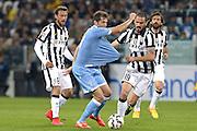 © Filippo Alfero<br /> Juventus-Lazio, Serie A 2014/2015<br /> Torino, 18/04/2015<br /> sport calcio<br /> Nella foto: Senad Lulic e Leonardo Bonucci