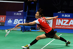 June 18, 2017 - Jakarta, DKI Jakarta, Indonesia - JAKARTA, INDONESIA - JUNE 18: Sayako Sato of Japan compete against Sung Ji Hyun of South Korea during Women Single final round of the BCA Indonesia Open Super Series 2017 on June 18, 2017 in Jakarta, Indonesia. Sayako Sato win 21-13, 17-21 and 21-14. (Credit Image: © Sijori Images via ZUMA Wire)