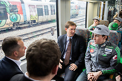 Enzo Smrekar, Dusan Mes, Miro Cerar, prime minister of Slovenia and Peter Prevc during driving of Slovenian National Ski jumping Team from Ljubljana by train to the FIS World Cup Ski Jumping Final Planica 2016, on March 16, 2016 in  Slovenia. Photo by Vid Ponikvar / Sportida